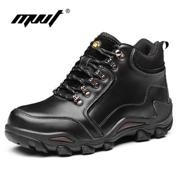 MVVT Genuine Leather Boots Men Winter Boots Waterproof Work Safety Snow Books For Men