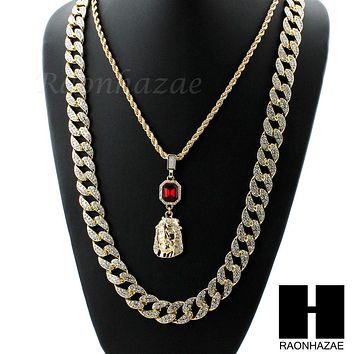 MENS ICED OUT LAB DIAMOND GOLD CUBAN CHAIN RED RUBY JESUS COMBO 2 NECKLACES SET1
