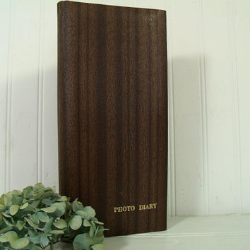 Vintage Wood Grain Look Leatherette Vinyl Photo Album Spiral Bound Binder - Retro Gold Embossed Mid Century 72 Photos Diary Book Never Used