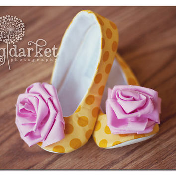Belle Inspired Handmade Baby Toddler Girls Soft Soled Shoes Booties & Ballet Flats, Princess Belle Style...Made to Order