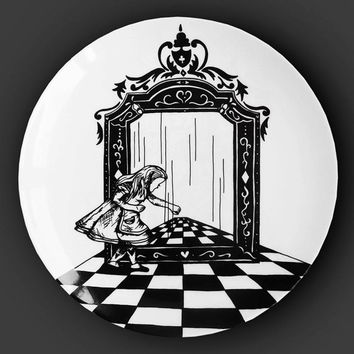 Illustrated ceramic plate, Black and White Pen and Ink Alice in Wonderland drawing - Alice Through the Looking Glass