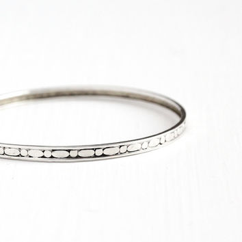 Vintage Sterling Silver Bangle Bracelet - Mid Century Retro 1950s 1960s 8 Inch Circular Bubbles Eternity Stacking Jewelry