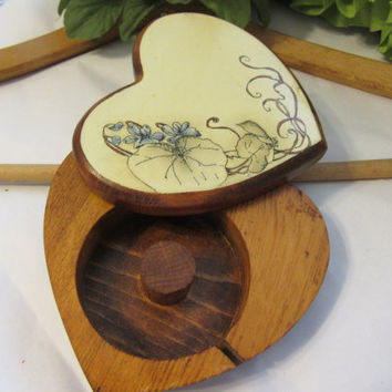 Vintage One of a Kind Unusual Handcrafted and Hand Painted Violets Pen and Ink Heart Shaped Tape Dispenser - Unique gift Idea