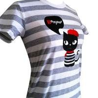 Cat Shirt - Bonjour French Kitty Striped Tee Shirt - (Available in Ladies sizes S, M, L, XL)