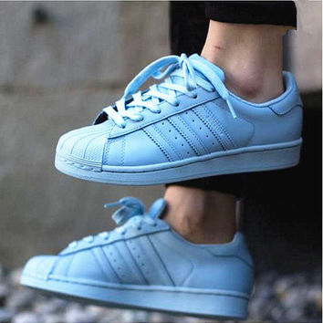 """Adidas"" Fashion Shell-toe Flats Sneakers Sport Shoes Pure color Light blue"