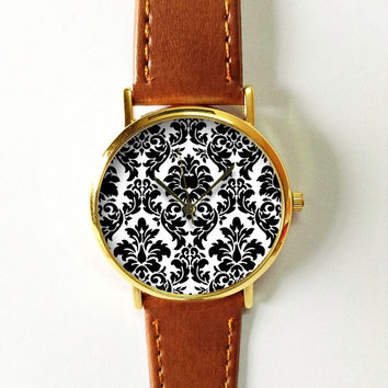 Damask Pattern Watch , Vintage Style Leather Watch, Women Watches,  Boyfriend Watch, Black White, Wallpaper, Victorian, Mother's day gift