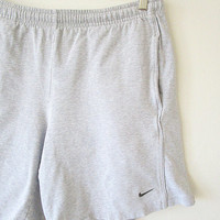 Vintage 90's NIKE Embroidered SWOOSH Light Grey Heather Drawstring Athletic Sweat Spandex Shorts Sz Large