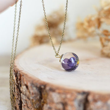 pansy viola flower necklace resin jewelry clear orb sphere necklace- flower jewelry, viola necklace , gift under 45