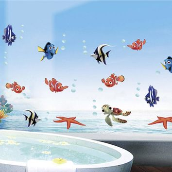 cartoon sea animals Fish NEMO home decals wall sticker removable vinyl bathroom stickers art for baby nursery kids rooms mural