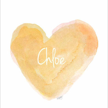 Gold Nursery Art 11x14 Watercolor Heart Art Print, Natural Nursery, Baptism Gift, Christening Gift, Shower Gift