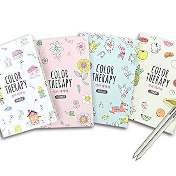 "Set of 4 Mini Coloring Books for Adult Relaxation Color Therapy Anti Stress Coloring Books, 16 Pages Each with All Different Theme, Adult Colouring Book of 4.92""X7.20"""