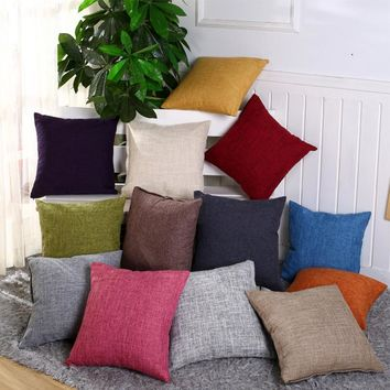 45*45cm Vintage Plain Decorative Cotton Linen Throw Pillow Case