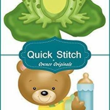 Quick Stitch Child Baby Grteen Froggy Teddy Bear 2 Counted Cross Stitch or 2 Counted Needlepoint Patterns
