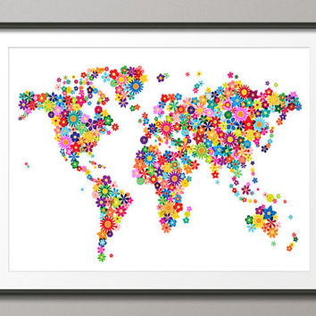 Flowers Map of the World Map, Art Print 18x24 inch (179)
