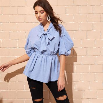 Tie Neck Bell Sleeve Elastic Waist Blouse Women Blue Solid Puff Sleeve Half Sleeve Tops and Blouses