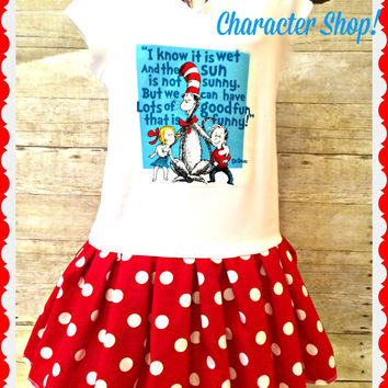 girls Dr. Seuss Cat in the HAT dress 2t 3t 4t 5/6 7/8 10/12 and 14/16 thing one thing two