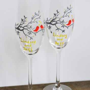 Hand painted Wedding Toasting Flutes Set of 2 Personalized Champagne glasses Gray tree and coral red birds