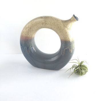 Vintage Studio Pottery Wine Decanter, Vintage Drip Glaze Stoneware Donut Wine Decanter