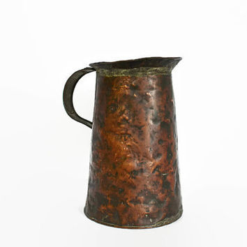 Handmade Copper Pitcher, Primitive Copper Water Pitcher, Rustic Flower Vase, Rustic Jug, Metal Serving Pitcher