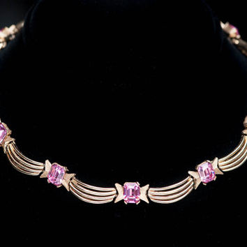 Vintage Trifari Pink Rhinestone Choker Link Necklace Brushed Goldtone