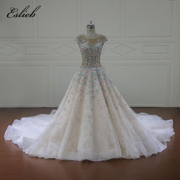 Eslieb Vestido De Noiva Illusion Wedding Dresses 2018 Cap Sleeve Appliques A Line Lace Bridal Gown Royal Train Plus Size Dresses