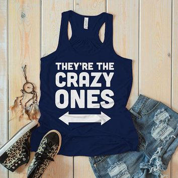 Women's They're The Crazy Ones Best Friend 3 Cotton Flowy Tank Top Racerback