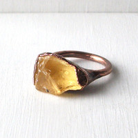 Citrine Ring Gemstone Ring Cocktail Ring Birthstone Ring Size 7 November Copper Ring Rough Mineral Citrus Sunshine Yellow Artisan Handmade