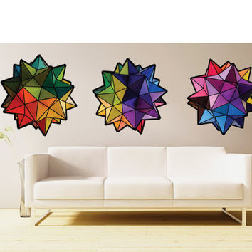 Rainbow Geometric origami stars- set of 3 - fabric wall decal- three colorful decorative art decals