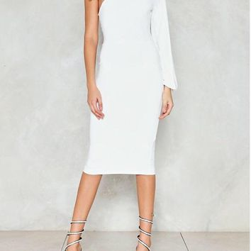 Anything But Cold One Shoulder Midi Length Dress