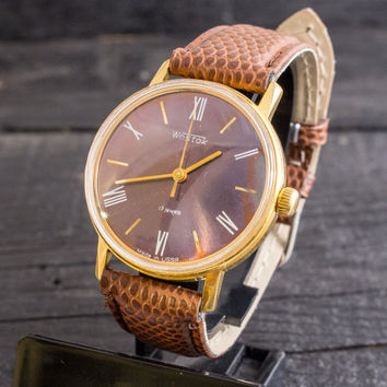 Vintage Wostok mens watch, gold plated russian watch, cccp ussr, vintage russian watch
