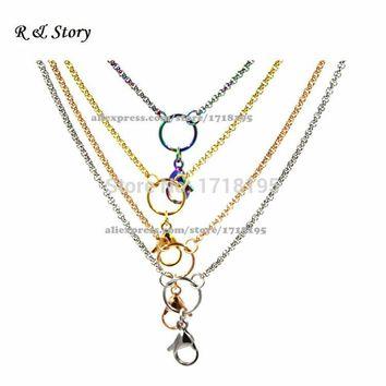 "32"" Mixed Stainless Steel Rolo Chain Floating Charms Living Lockets LFH_008"