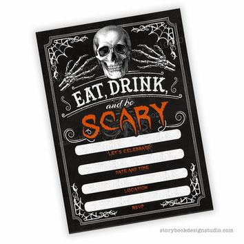 Skeleton Halloween Party Fill In Invitations