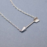Tiny Piercing Arrow Necklace in silver