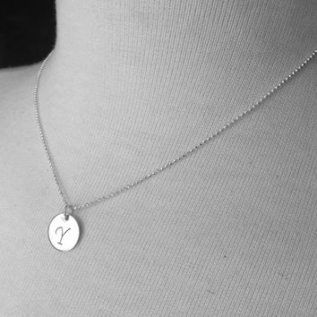 Large Initial Necklace, Letter Y Necklace, Sterling Silver Initial Necklace, Initial Jewelry, Initial Pendant, Letter Y, Charm Necklace
