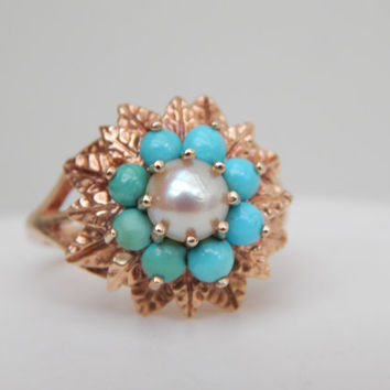 vintage turquoise and pearl cluster ring in 9ct gold - statement ring