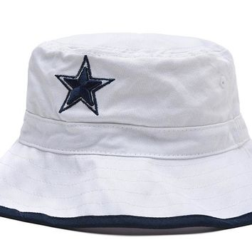Dallas Cowboys Full Leather Bucket Hats White