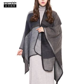 2018 New Arrival Splicing Long Pashmina Women Autumn Winter Warm 4 Colors Female Scarves Vintage Ponchos Capes Shawl Cardigans