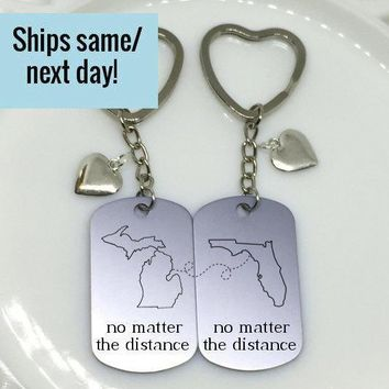 No Matter the Distance, Long Distance Relationship, Friendship Keychain, Long Distance Keychain, Any States or Country, Engraved Keychain