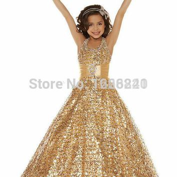 2016 new kids jordans Beautiful Girls Pageant Dresses With Sequins Gold Kids Dress Hal