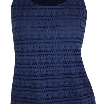 Charter Club Women's Eyelet Knit Overlay Tank Top