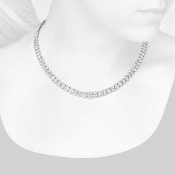 Graduated Oval Diamond Eternity Necklace in 18k White Gold (44 ct. tw.) | Blue Nile