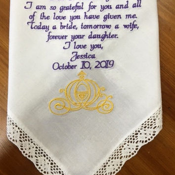 Embroidered Wedding Handkerchief Gift for Mom Mother of the Bride Wedding Gift Cinderella Wedding Cinderella Carriage By Canyon Embroidery