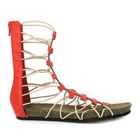 Fahrenheit April-01 Gladiator T-strap Flat Sandal in Red @ ippolitan.com