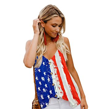 Classic Stars and Stripes Flag Print Button Down Tank Top