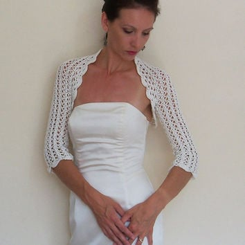 Wedding lace shrug Bridal ivory bolero Cotton ivory shrug Crochet lace wedding bolero