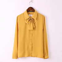 Solid Long-Sleeve Bow Tie Chiffon Blouse