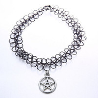 Vintage Stretch Tattoo Choker Necklace Gothic Punk Grunge Henna Elastic with Pendant Handmade Fashion Necklaces Jewelry + Gift Box