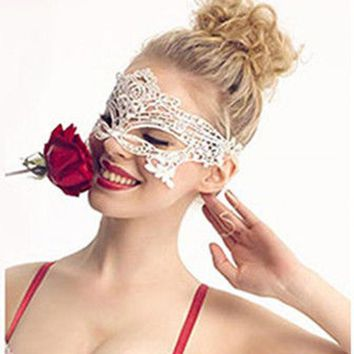 White Masque Sexy Eye Face Mask For Masquerade Party Masks Venetian Carnival Halloween Lace Masks Cutout Maske Masquerade
