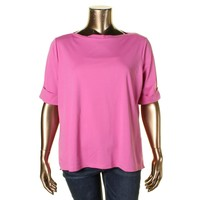 Lauren Ralph Lauren Womens Plus Cotton Solid Casual Top