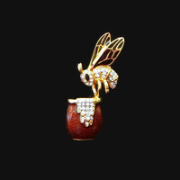 Vintage Bee on Honey Pot Brooch, Enamel & Rhinestone Honey Bee Pin, Designer Signed Jennifer Moore for Macy's, Darling!